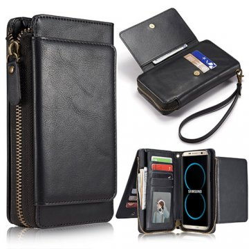 Samsung Galaxy S8 Plus Wallet Detachable Magnetic Case With Wrist Strap Black