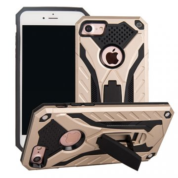 Apple iPhone 7 Knight Armor Hybrid Shockproof Stand Case Gold