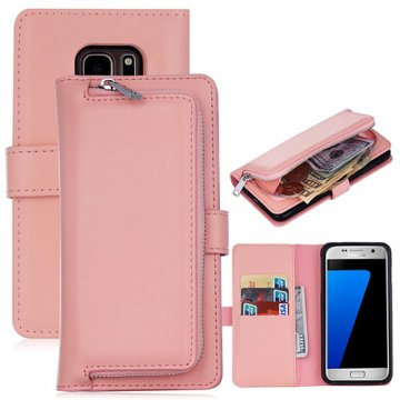Samsung Galaxy S7 Detachable Magnetic Zipper Pocket Case Pink
