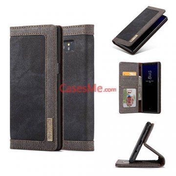 CaseMe Samsung Galaxy Note 8 Canvas Wallet Magnetic Case Black