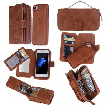 BRG iPhone 8 Zipper Wallet Detachable Magnetic Case Brown