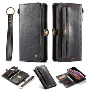 CaseMe iPhone XS Wallet Retro Style Case With Wrist Strap Black