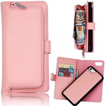 iPhone 6S/6 Detachable Magnetic Zipper Pocket Case Pink