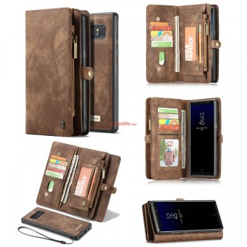 CaseMe Samsung Galaxy Note 8 Detachable Zipper Wallet Folio Case Brown