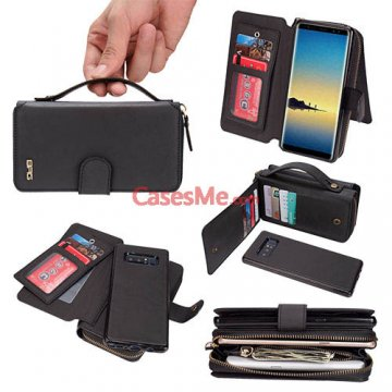 BRG Samsung Galaxy Note 8 Zipper Wallet Detachable Case Black