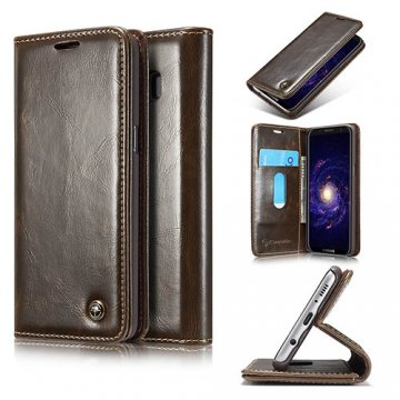 CaseMe Samsung Galaxy S8 Business Style Magnetic Flip Wallet Case Brown