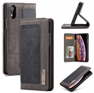 CaseMe iPhone XR Canvas Magnetic Flip Wallet Leather Case Black