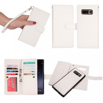 BRG Samsung Galaxy Note 8 Detachable Wallet Magnetic Case White
