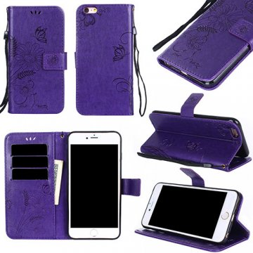 iPhone 6/6S Wallet Embossed Ant Flower Design Stand Case Purple