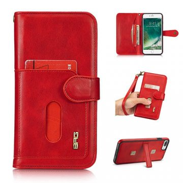 BRG iPhone 8 Plus wallet 2 in 1 magnetic case with wrist strap Red