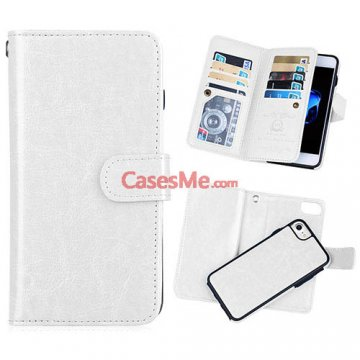 BRG iPhone 8 Wallet 9 Card Slots Detachable Magnetic Case White