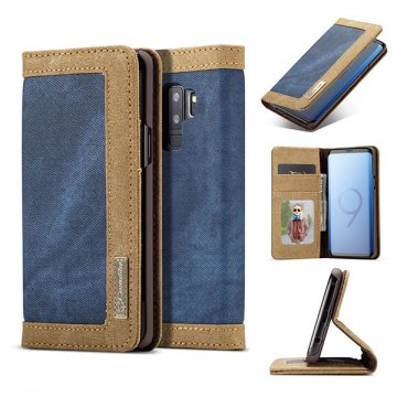 CaseMe Samsung Galaxy S9 Plus Canvas Wallet Case Blue
