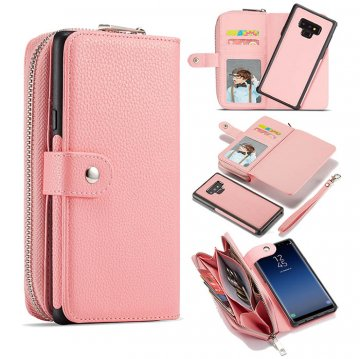 BRG Samsung Galaxy Note 9 Litchi Texture Zipper Wallet Magnetic Detachable 2 in 1 Case Pink