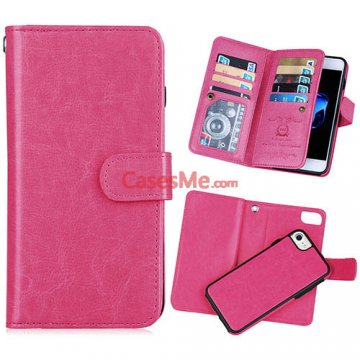 BRG iPhone 8 Wallet 9 Card Slots Detachable Magnetic Case Rose