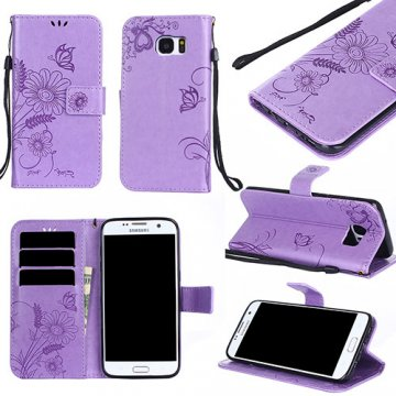 Samsung Galaxy S7 Edge Wallet Embossed Ant Flower Stand Case Lavender