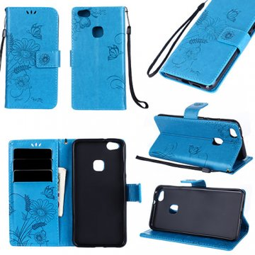 Huawei P10 Lite Wallet Embossed Ant Flower Design Stand Case Blue