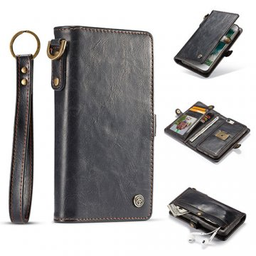 CaseMe iPhone 7 Wallet Retro Style Case With Wrist Strap Black
