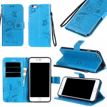 iPhone 6/6S Wallet Embossed Ant Flower Design Stand Case Blue