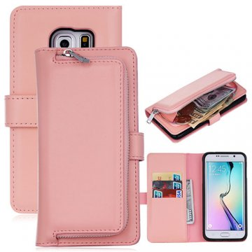 Samsung Galaxy S6 Detachable Magnetic Zipper Pocket Case Pink