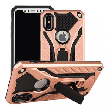 Apple iPhone X Armor Hybrid Shockproof Stand Case Rose Gold