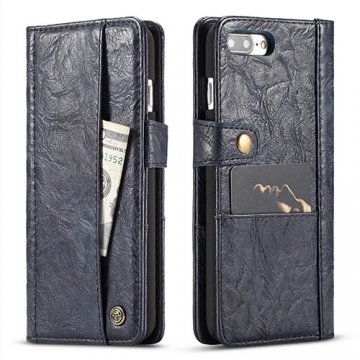 CaseMe iPhone 7 Plus Retro Slot Cards Wallet Leather Case Blue