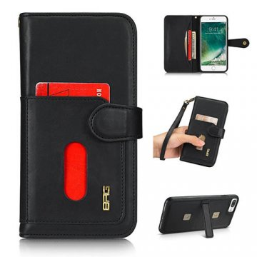 BRG iPhone 8 Plus wallet 2 in 1 magnetic case with wrist strap Black