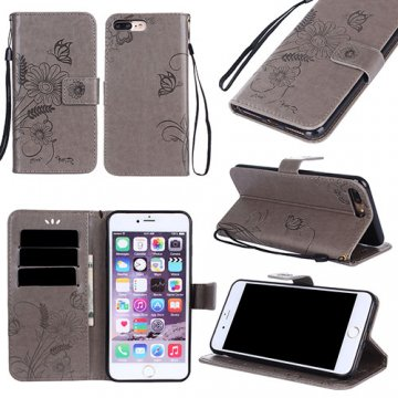 iPhone 7 Plus Wallet Embossed Ant Flower Design Stand Case Grey