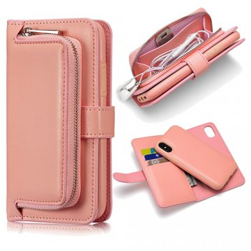 iPhone X Zipper Pocket Detachable Magnetic Case Pink