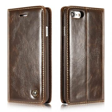 CaseMe iPhone 8 Wallet Magnetic Flip Case Brown