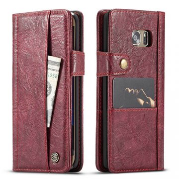 CaseMe Samsung Galaxy S7 Edge Retro Wallet Leather Case Red
