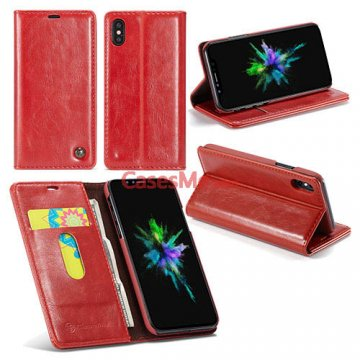 CaseMe iPhone X Wallet Magnetic Flip Leather Case Red