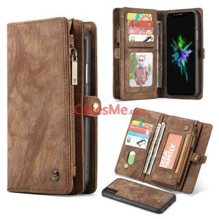 CaseMe iPhone X Zipper Wallet Detachable 2 in 1 Folio Case Brown