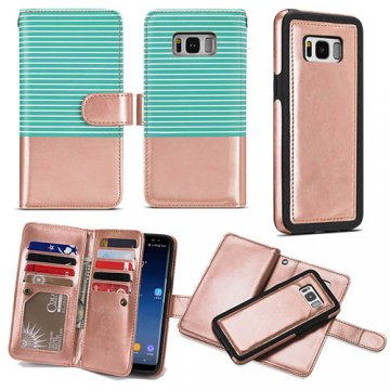 BRG Samsung Galaxy S9 Wallet Stripe Leather Case Green + Gold