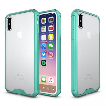 iPhone X Transparent Acrylic Shockproof TPU Protective Case Cyan