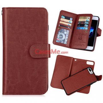 BRG iPhone 8 Plus Wallet 9 Card Slots Detachable Magnetic Case Brown