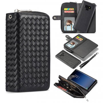 BRG Samsung Galaxy Note 9 Weave Texture Wallet Magnetic 2 in 1 Case