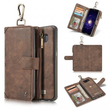 CaseMe Samsung Galaxy S8 Zipper Wallet Metal Buckle Detachable Folio Case Coffee
