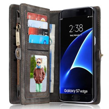 CaseMe Samsung Galaxy S7 Edge Zipper Wallet Detachable 2 in 1 Folio Case Black