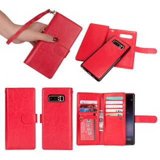 BRG Samsung Galaxy Note 8 Detachable Wallet Magnetic Case Red
