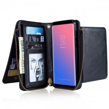 Samsung Galaxy S9 Wallet Detachable Case With Wrist Strap Black