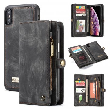 CaseMe iPhone Xs Max Zipper Wallet Detachable 2 in 1 Case Black