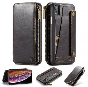 CaseMe iPhone XR Business Zipper Wallet 2 in 1 Case Coffee