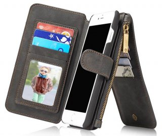 CaseMe iPhone 8 Plus Zipper Wallet Detachable Flip Case Black