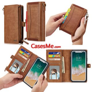 BRG iPhone X Wallet Detachable Magnetic Case with Wrist Strap Brown