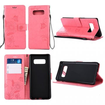 Samsung Galaxy Note 8 Wallet Embossed Ant Flower Design Case Pink