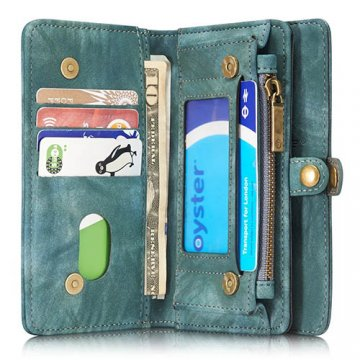 CaseMe iPhone 7 Zipper Wallet Detachable 2 in 1 Folio Case Green