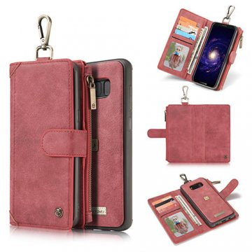 CaseMe Samsung Galaxy S8 Zipper Wallet Metal Buckle Detachable Folio Case Red