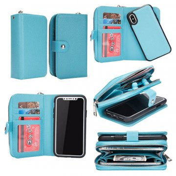 BRG iPhone Xs Wallet Magnetic Detachable 2 in 1 Case Blue
