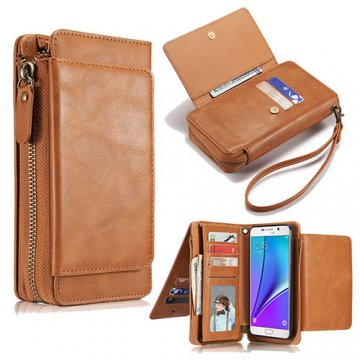 Samsung Galaxy Note 5 Wallet Detachable Magnetic Case With Wrist Strap Brown