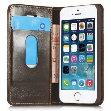 CaseMe iPhone SE/5S/5 Wallet Magnetic Flip Leather Case Brown